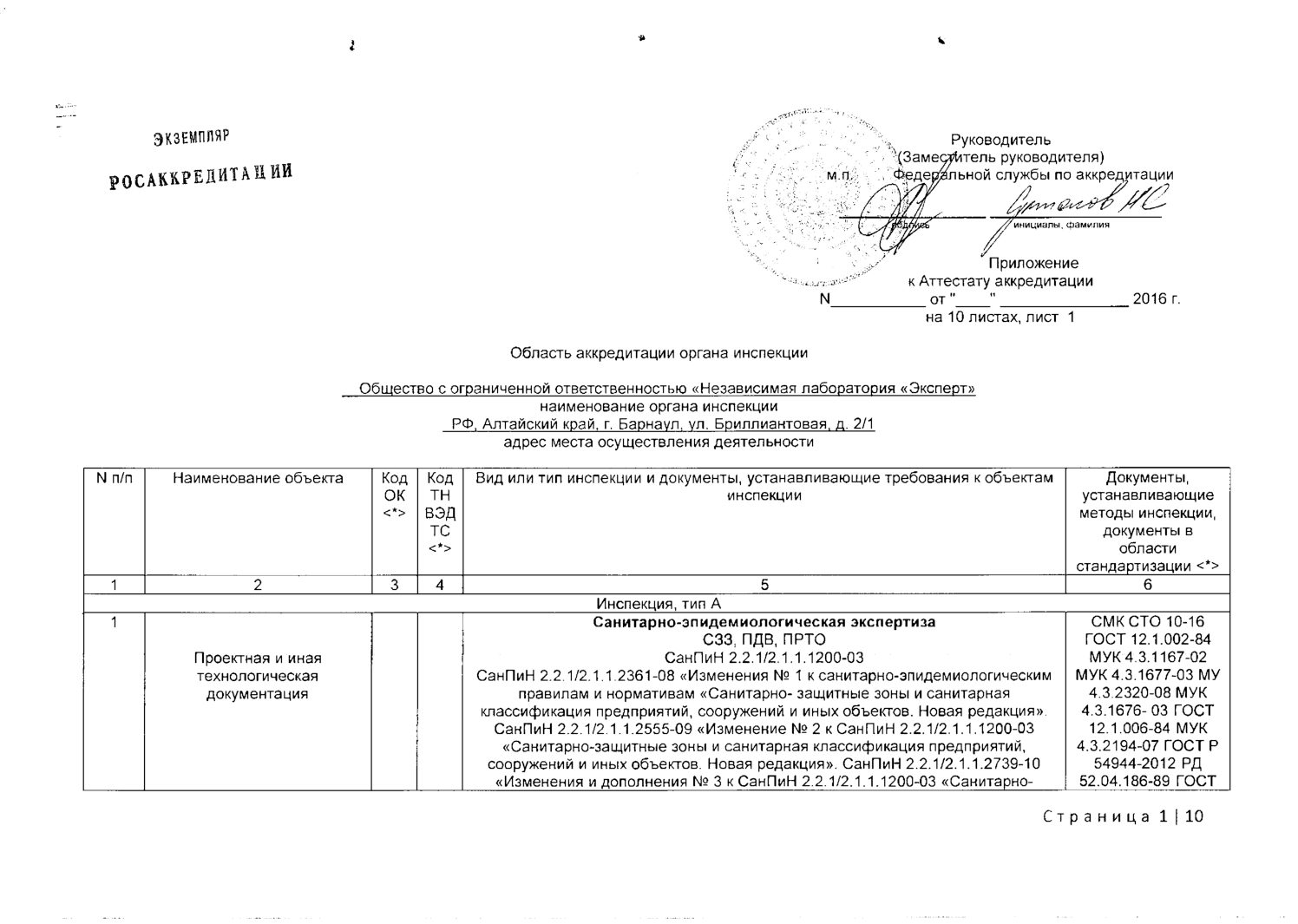 Область аккредитации органа инспекции